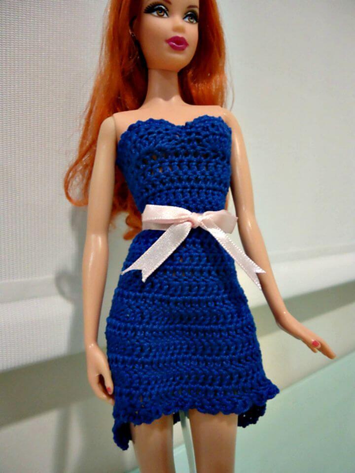 Простое и сложное платье для Барби крючком: схемы