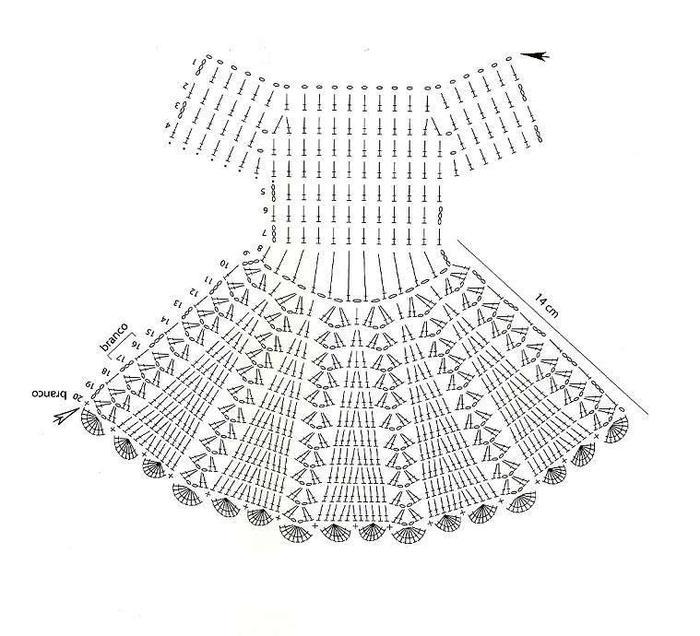 схема вязания пышного платья для барби