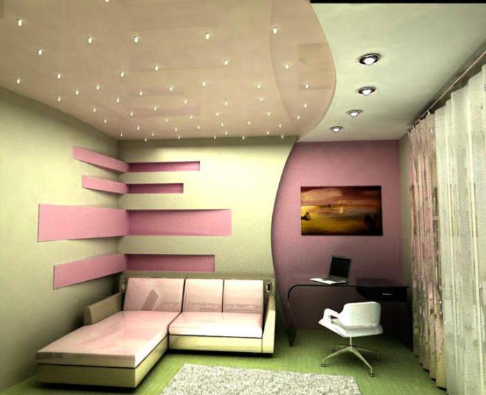 светильники в натяжной потолок в комнату