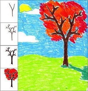 Как нарисовать осень цветными карандашами картинки