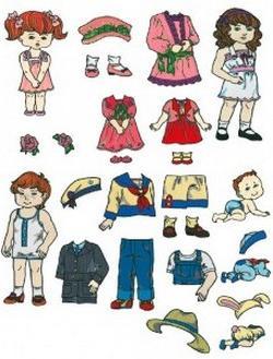 бумажная кукла для вырезания с одеждой