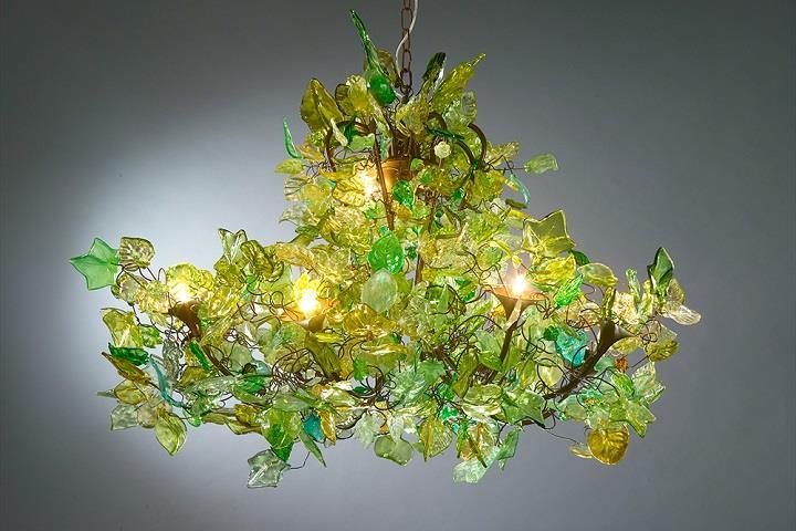 Green chandelier.
