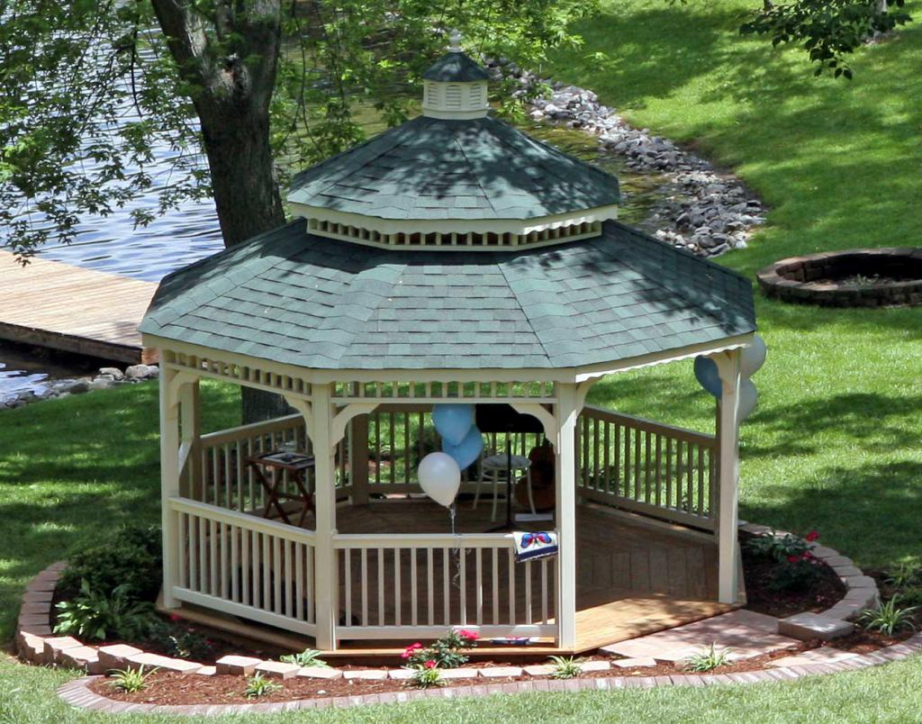 Gazebo with a two-level roof
