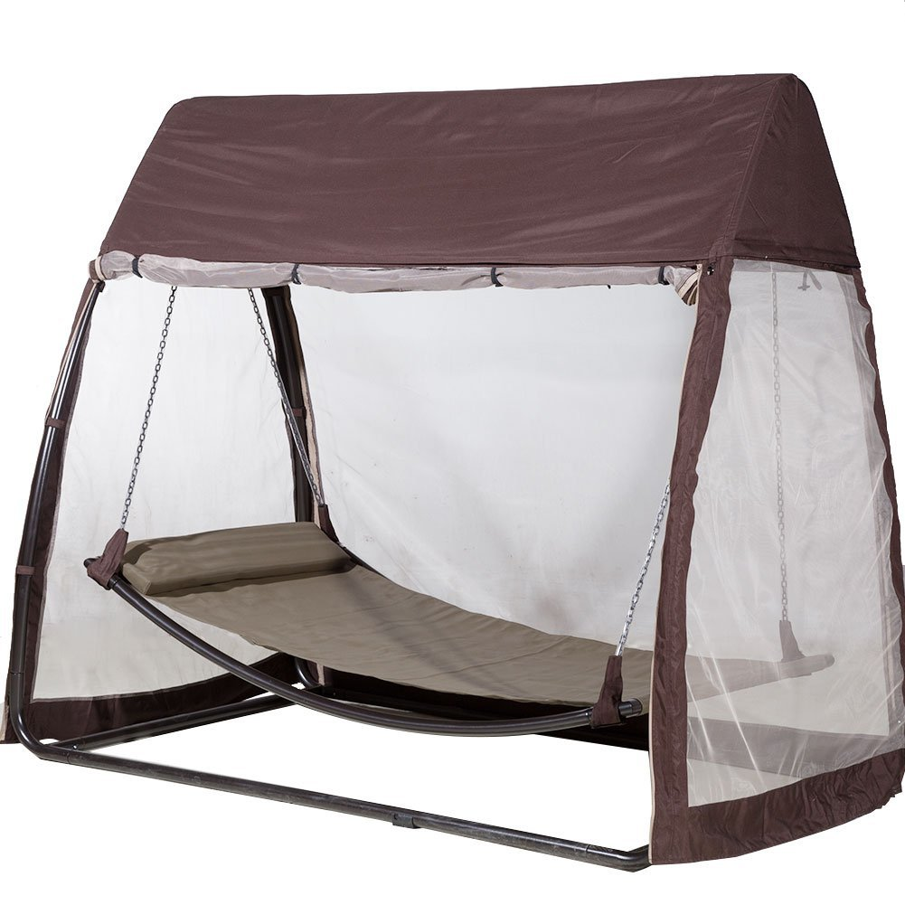 Hammock with a canopy on a metal frame