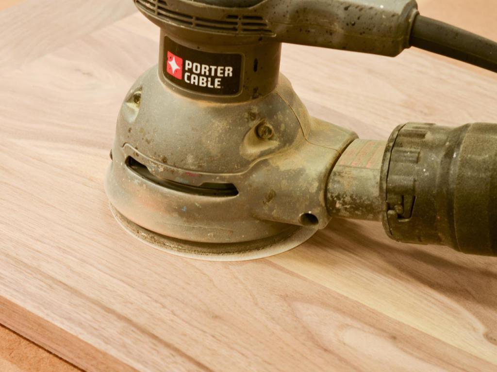 Sanding a wooden surface