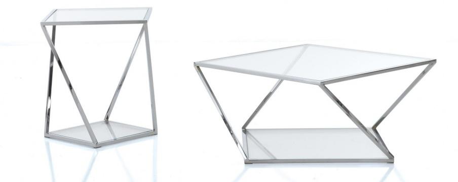 Glass table made of metal