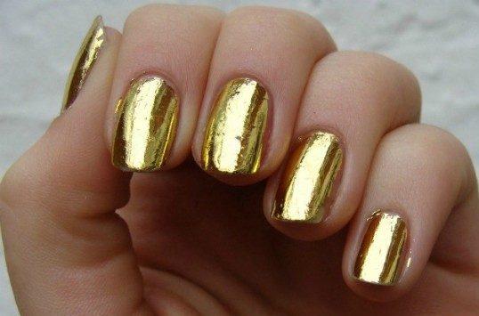 Gold foil manicure