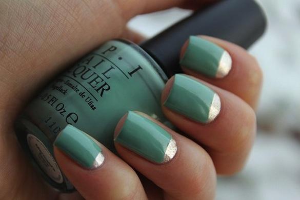 Lunar manicure with foil