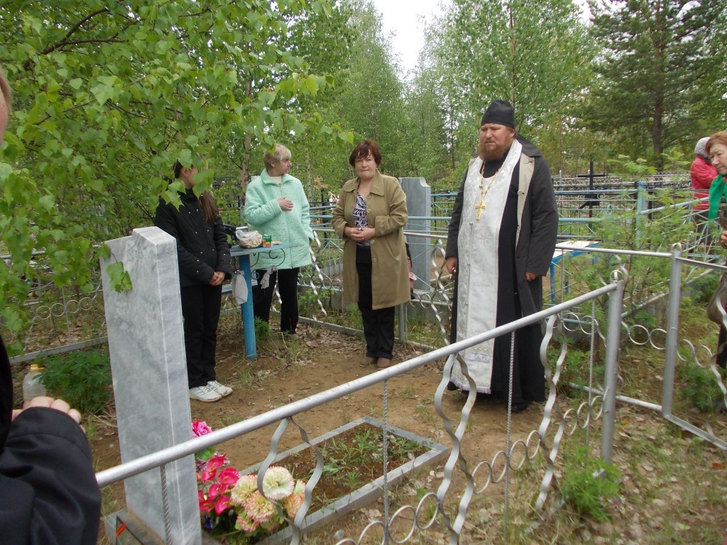 Memorial service at the cemetery