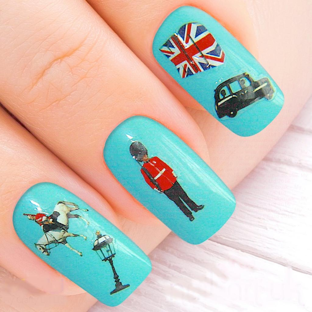 manicure with stickers