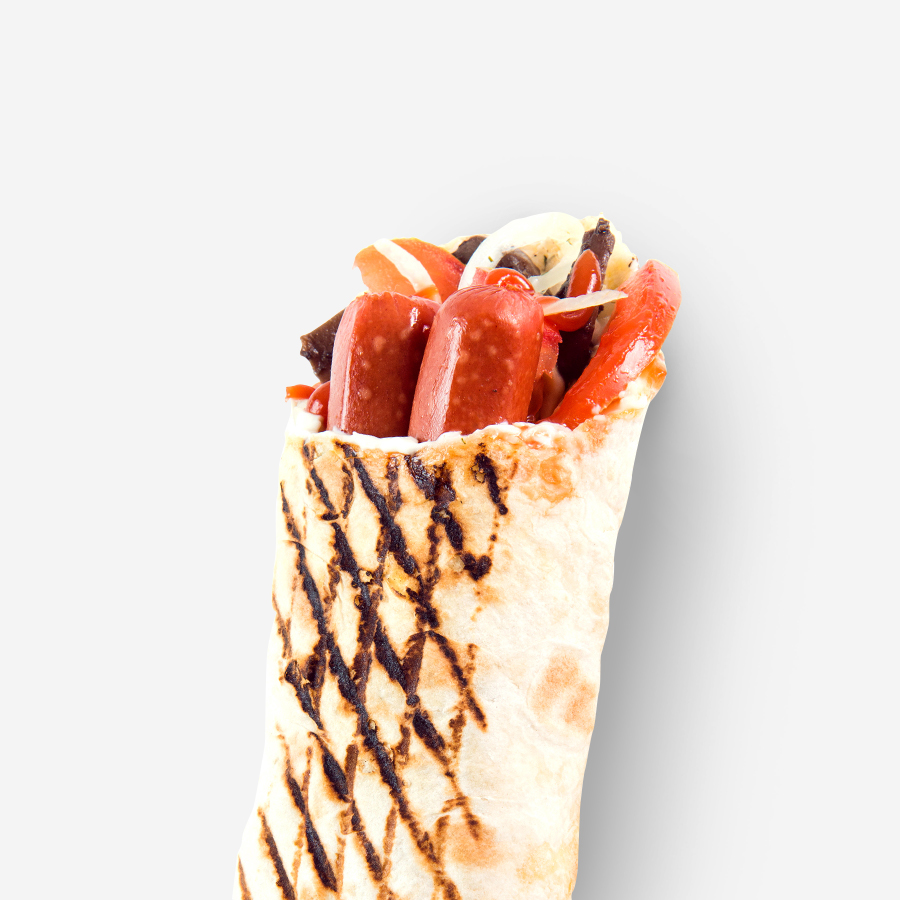 Homemade shawarma with sausages and cheese