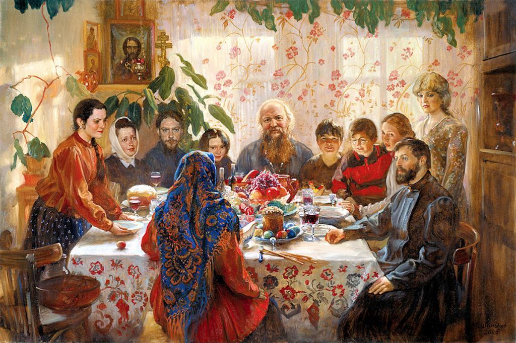 Картинки русская семья за столом