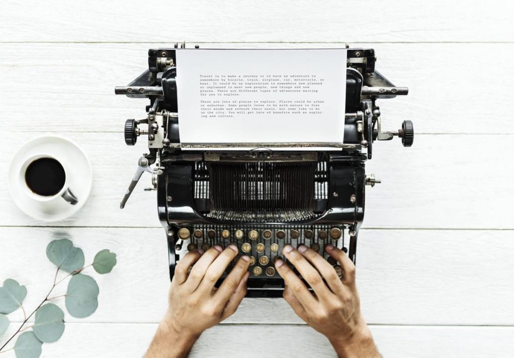 A man is typing on a typewriter.