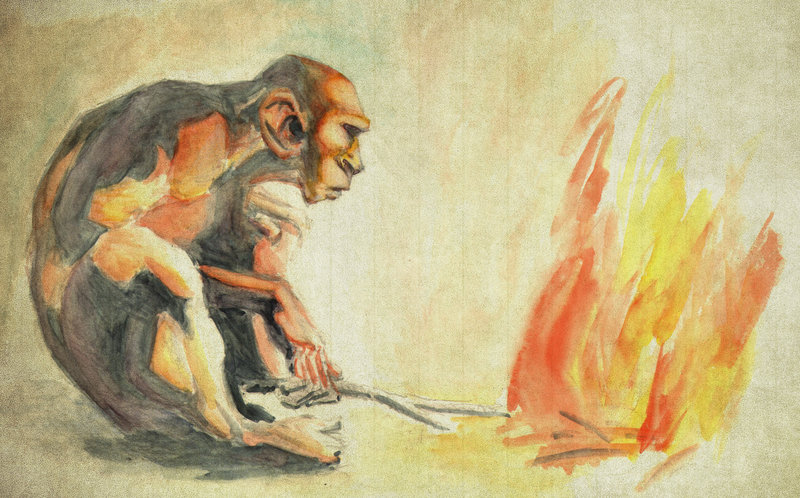 Древние люди добывают огонь картинка