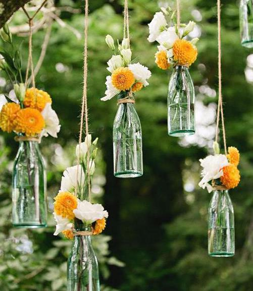 Цветочки в бутылочках