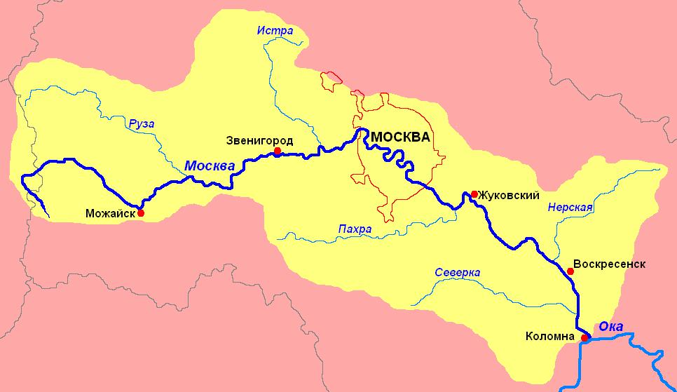 карта Москва-реки