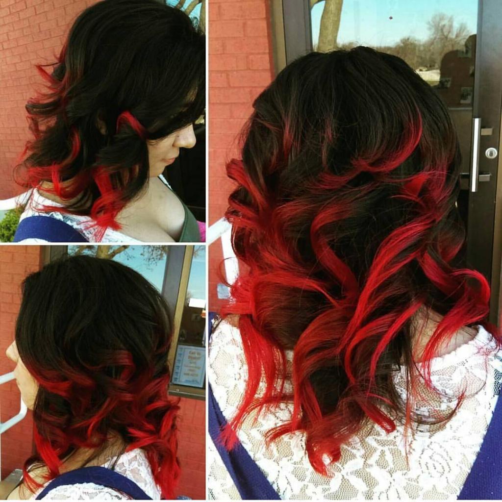 красные кончики волос