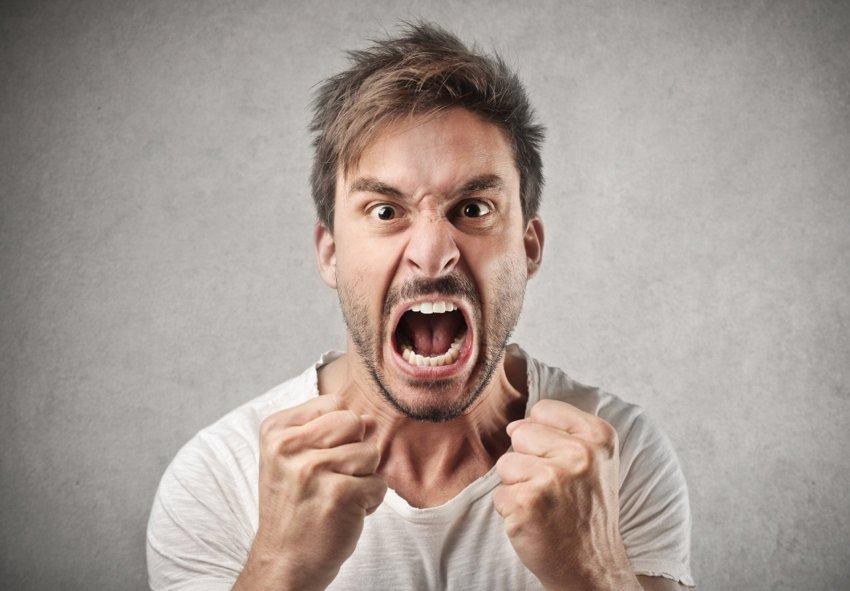 Angry aggressive husband