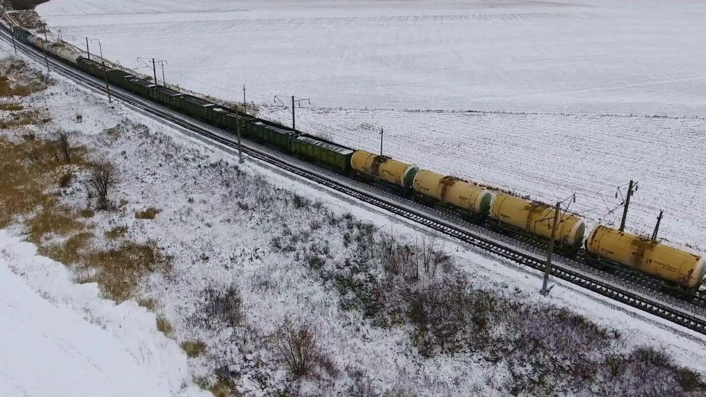 The train goes through the field