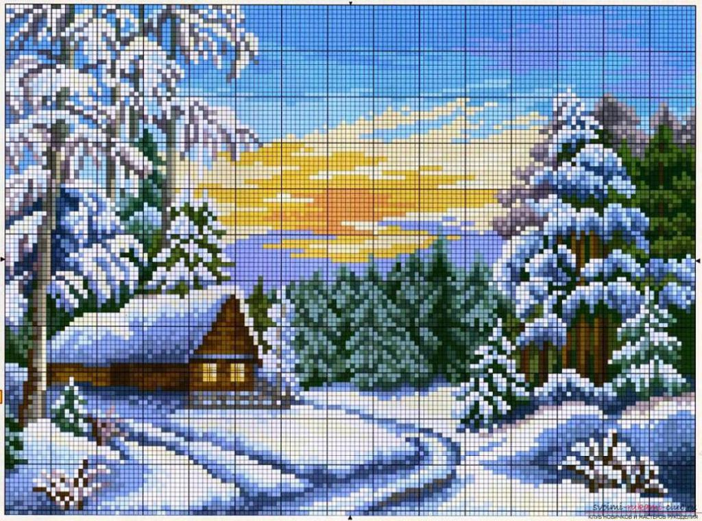 Схема вышивки крестом пейзаж зима