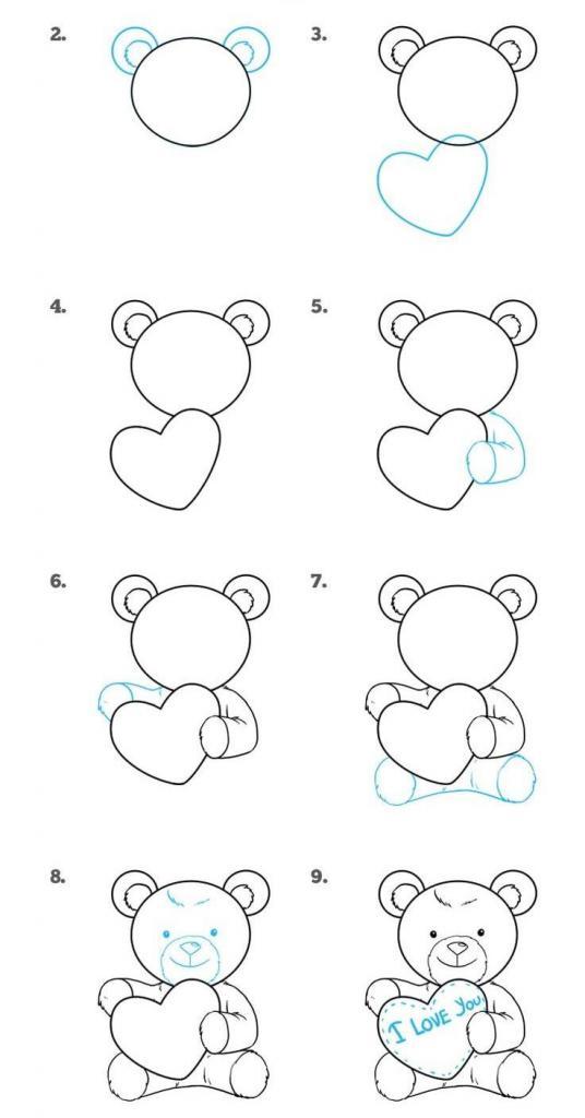 Для, как нарисовать медвежонка на открытку по частям