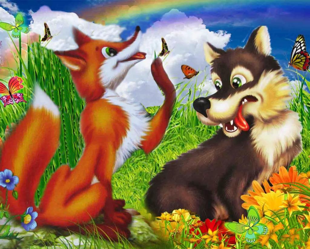 Лиса и волк в картинках, розами