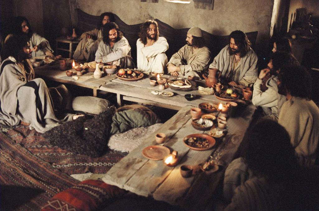 The resurrected Christ tastes a meal with his disciples (stills from the film)