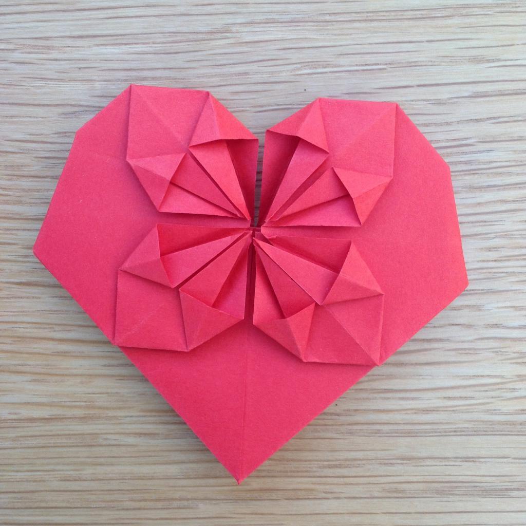 Поздравительные, оригами из бумаги открытка сердечко