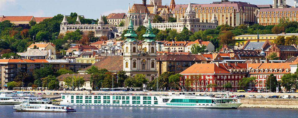Cruise ship near the marina of Budapest