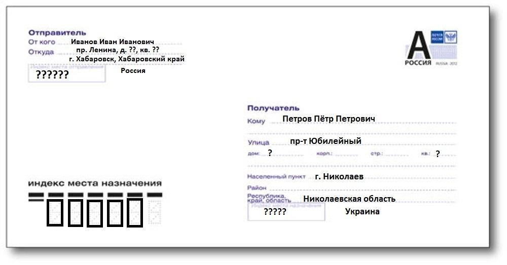 Как подписать конверт по Украине: инструкция