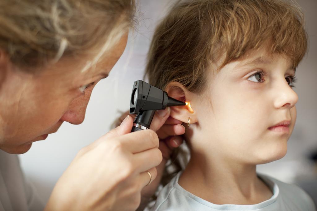 Otoscope examination of the ear