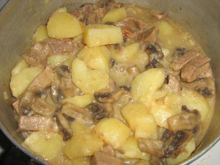 Тушеная картошка с белыми грибами в мультиварке рецепты с фото