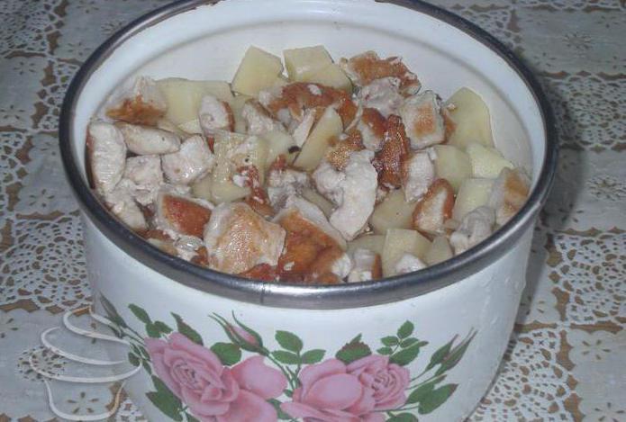 Грибы, картошка и мясо в горшочках / Блюда из свинины ...