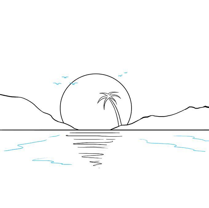 Закат рисунки карандашом простые