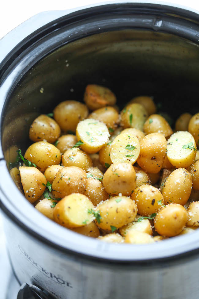 stewed potatoes in a slow cooker without meat