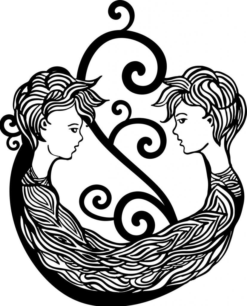 Символы на теле, татуировка Близнецы