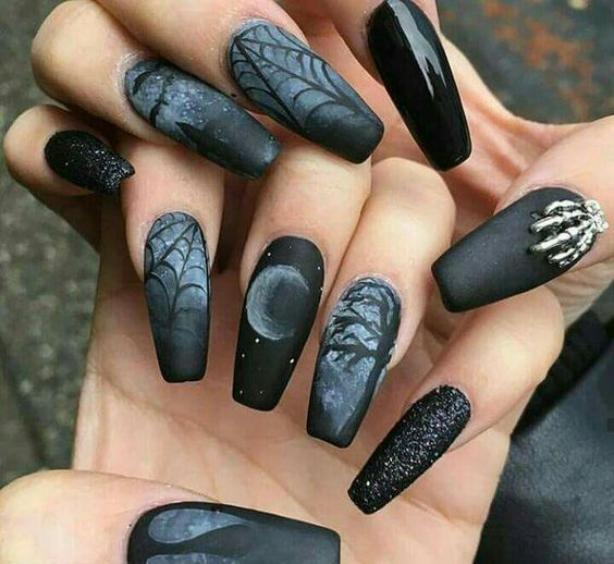 gothic manicure on long nails