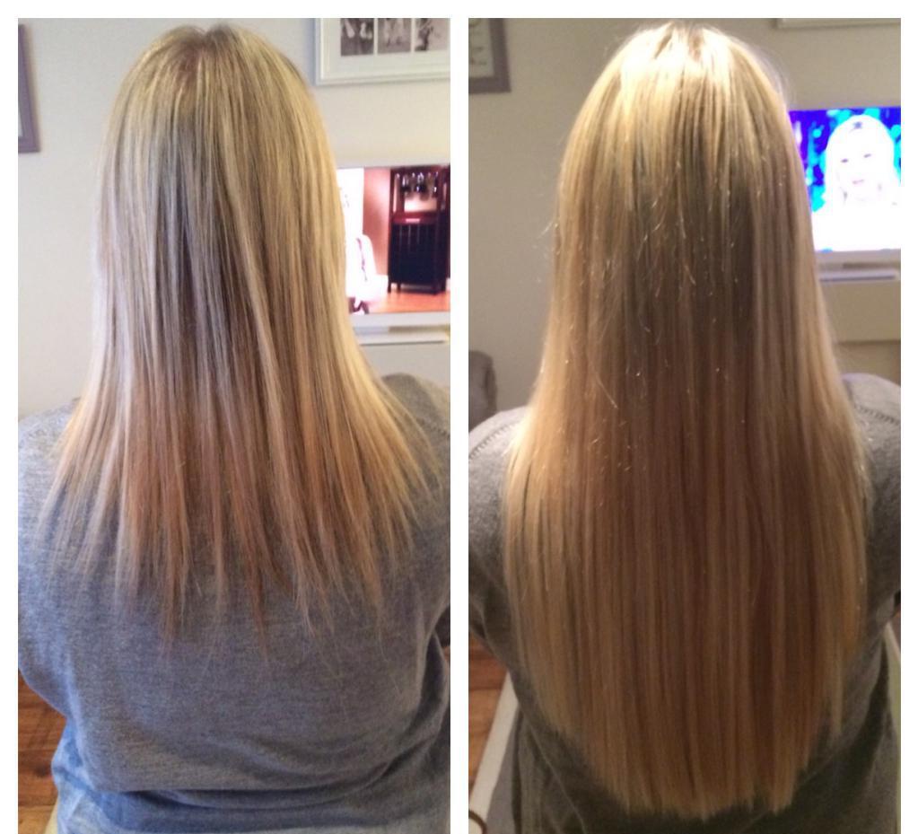 Девушка с нарощенными волосами до и после