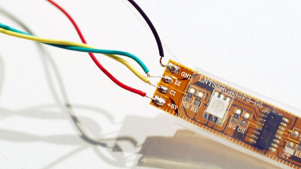 connection of LED strip and wires by soldering