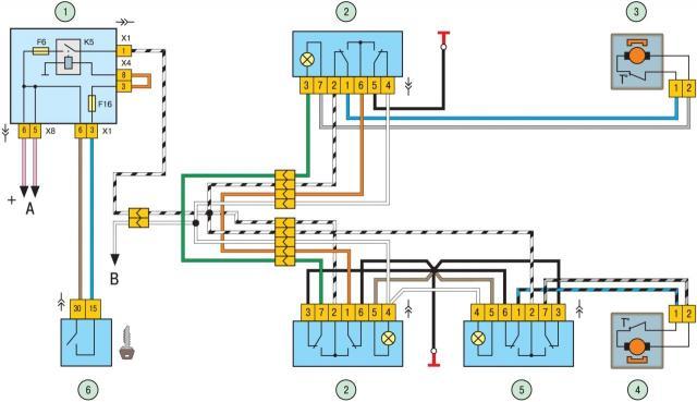 2911024 - Электрическая схема подключения стеклоподъемника