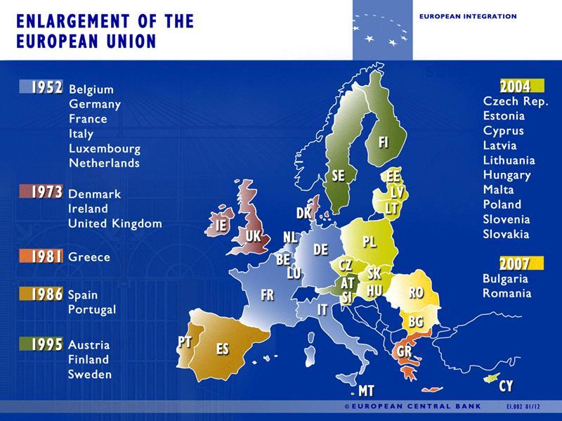 Карта вступления стран в ЕС