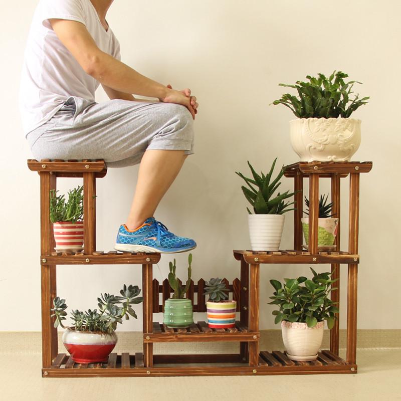 Wooden floor shelf.