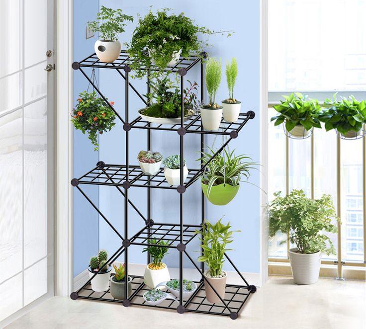 Multilevel iron shelf for flowers.