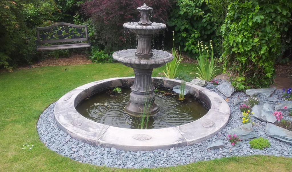 Beautiful fountain in the garden.