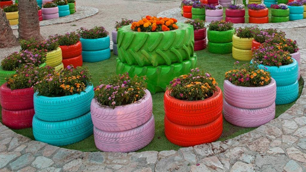 Car tires for flower beds.