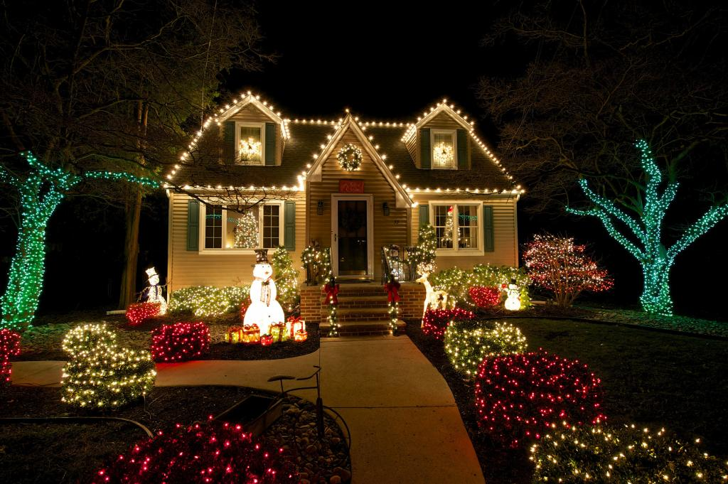 Christmas decoration of the yard and the house.