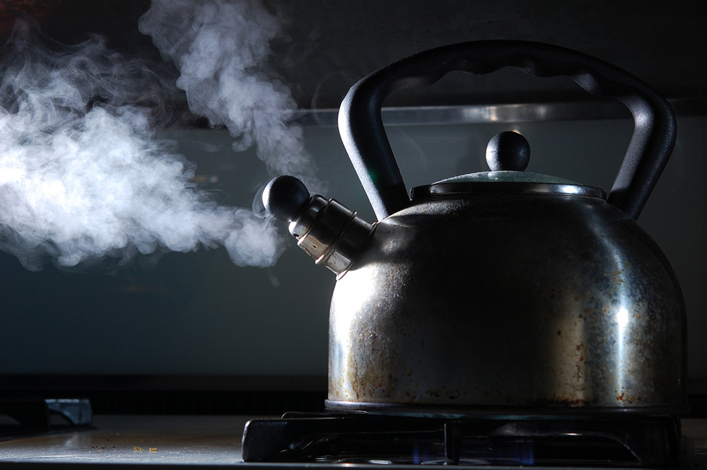 Steam from a hot kettle.