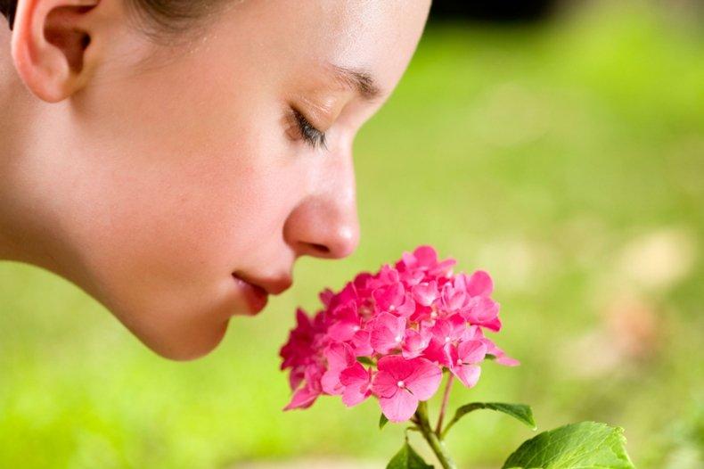 Девушка нюхает цветок.