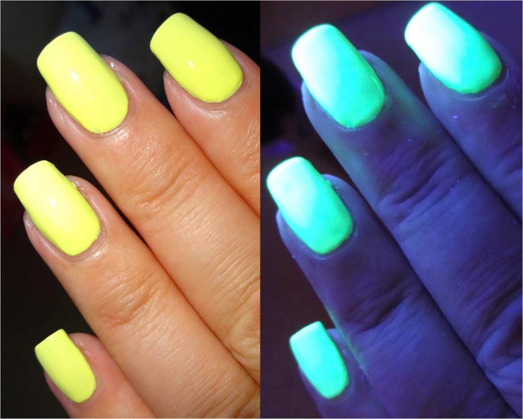 Флуоресцентный лак: особенности и варианты дизайна ногтей