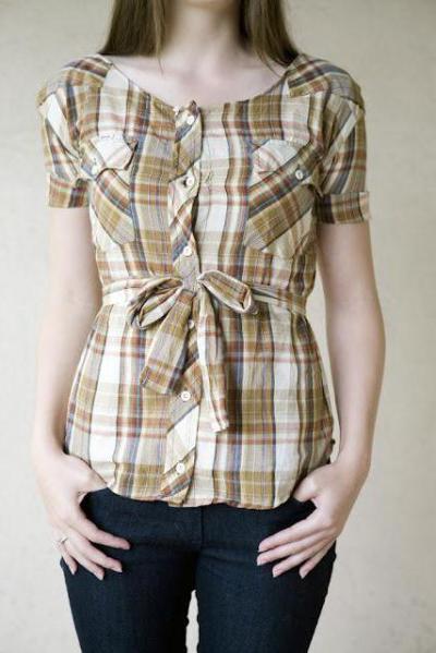 d99ad06fd66 Домашняя переделка из мужских рубашек. Как сшить блузку и платье из ...